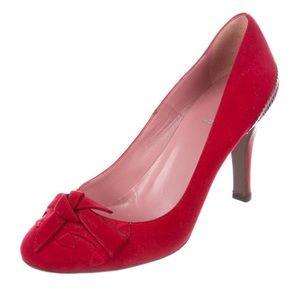 Fendi red suede pumps